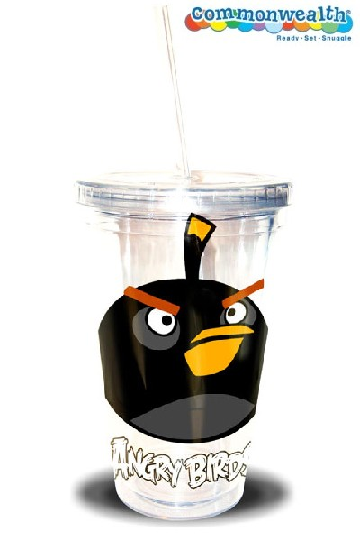 Commonwealth Angry Birds 16 oz Black Bird Tumbler with Straw