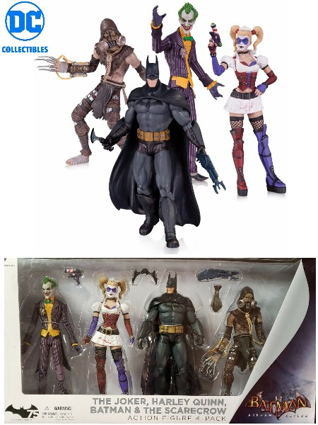 DC Batman Arkham Asylum Joker Harley Batman and Scarecrow 4 Pack