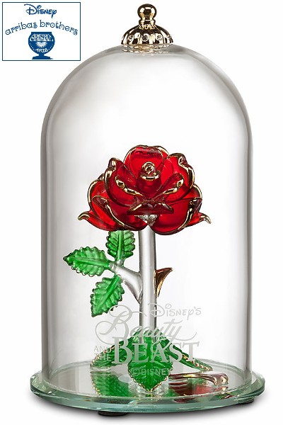 Disney Store Arribas Beauty and the Beast Rose Glass Sculpture