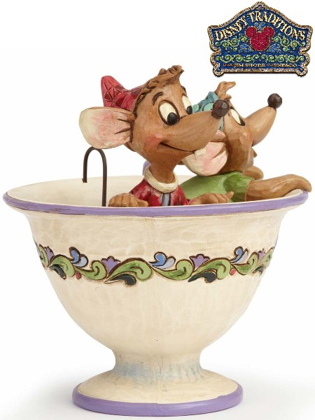 Disney Traditions Jaq and Gus in Tea Cup Tea for Two Statue