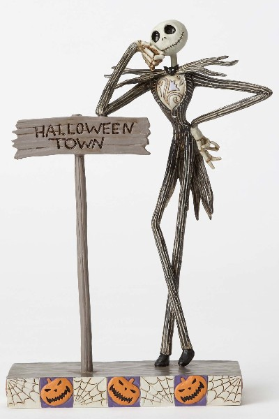 Disney Traditions Nightmare Before Christmas Jack on Sign Statue