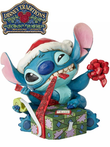 Disney Traditions Santa Stitch Wrapping Present Statue