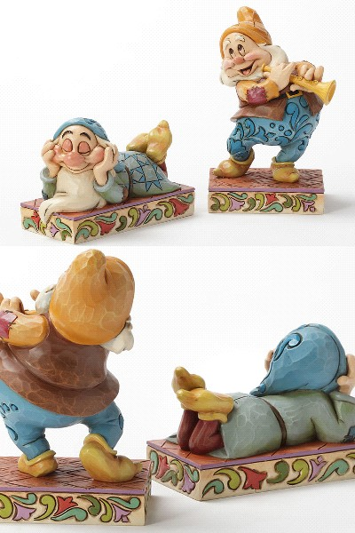 Disney Traditions Snow White Sleepy and Happy Statue Set