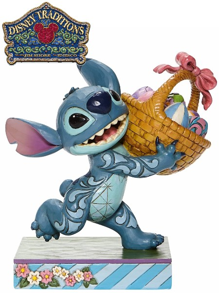 Disney Traditions Stitch Running with Easter Basket Statue