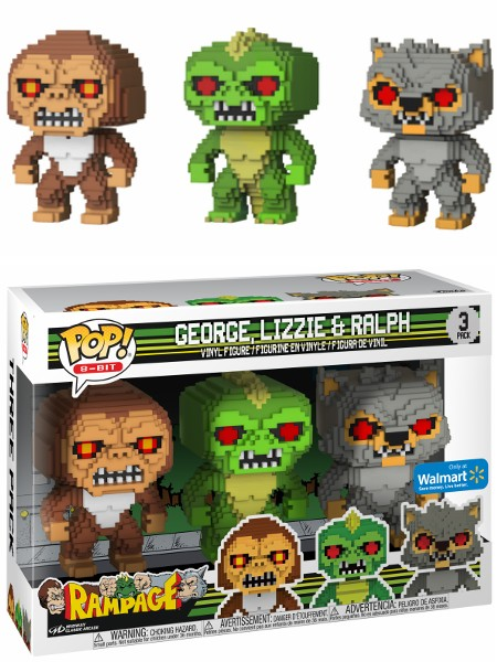 Funko POP 8-Bit Rampage George Lizzie and Ralph Exclusive 3 Pack