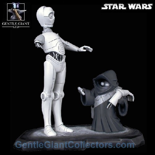 Gentle Giant Star Wars C-3PO with Jawa Black & White Maquette