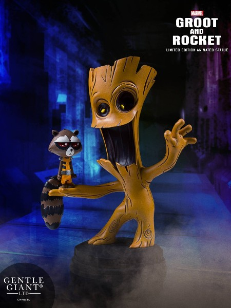 Gentle Giant Marvel Animated GOTG Groot and Rocket Statue