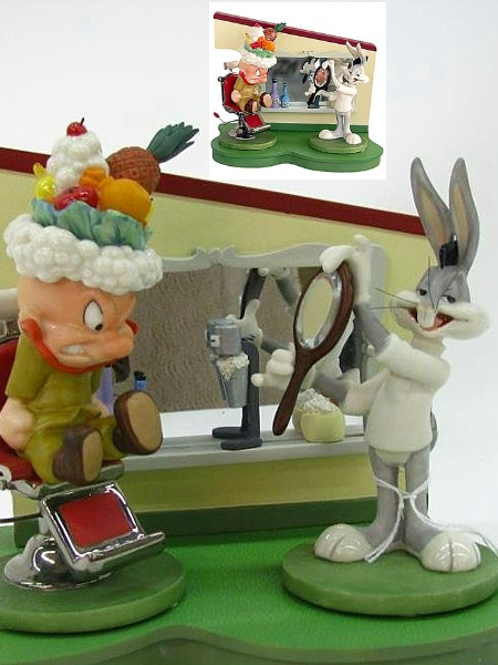 Goebel Looney Tunes Barber Shop Bugs Bunny and Elmer Fudd Scene