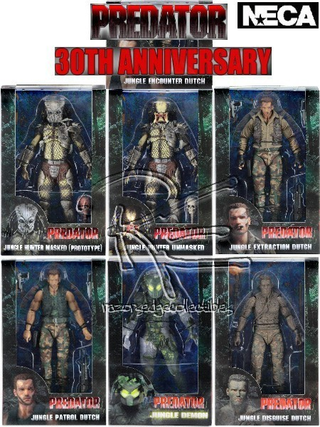 Neca Predator 30th Anniversary Action Figure Set of 7 Figures