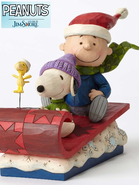 Peanuts by Jim Shore Charlie Brown on Sleigh Snow Day Statue