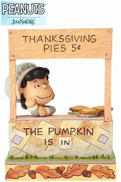 Peanuts by Jim Shore Lucy Thanksgiving Pie Stand Statue
