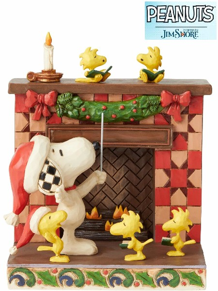 Peanuts by Jim Shore Snoopy at Fireplace Fireside Carols Statue