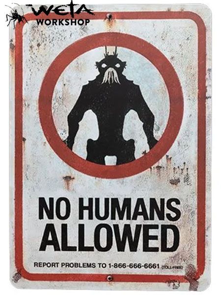 Weta Collectibles District 9 No Humans Allowed Replica Tin Sign